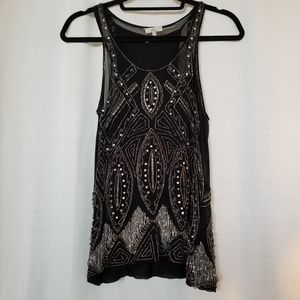 Joie Black Beaded & Stone Evening Wear Tank Top XS